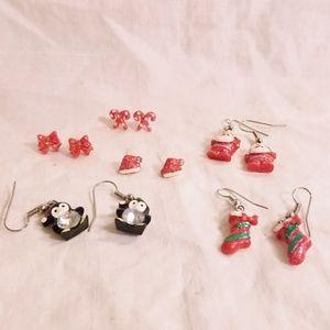 Lot of 6 Pairs Girls Christmas Earrings
